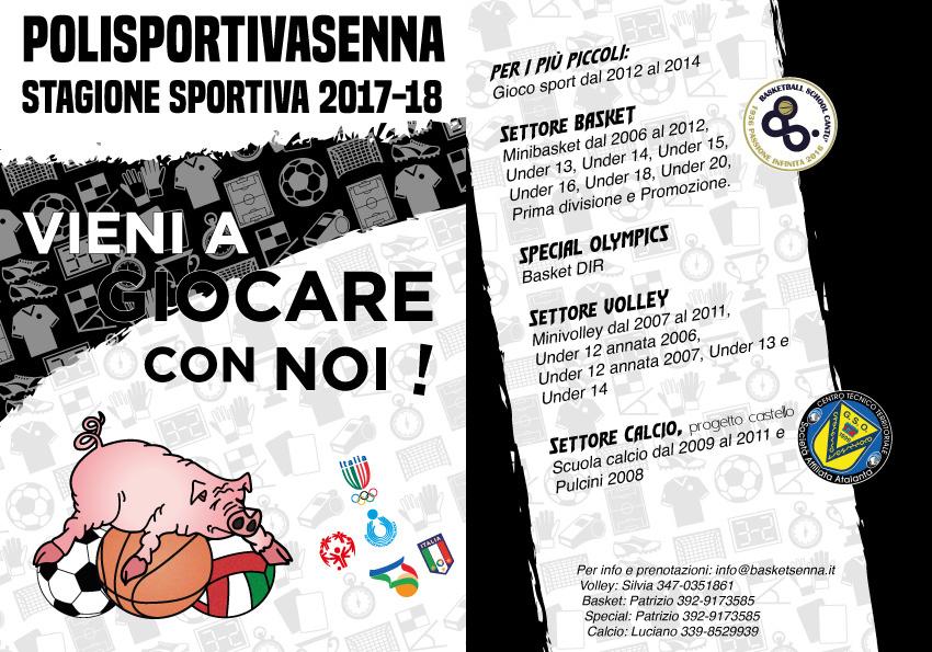 attività pallavolo, calcio, basket della Polisportivasenna stagione 2017-18